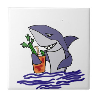 Funny Shark Drinking Bloody Mary Small Square Tile