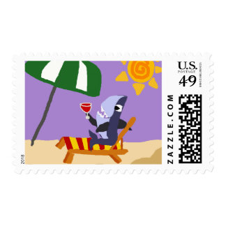 Funny Shark Drinking Red Wine at the Beach Stamps