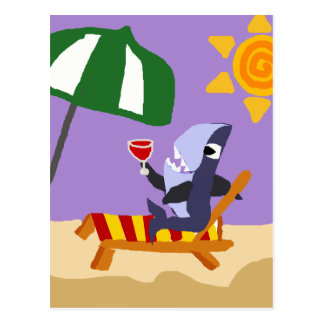Funny Shark Drinking Red Wine at the Beach Postcard