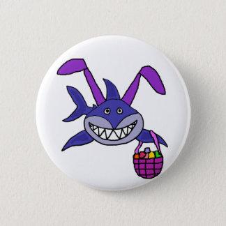 Funny Shark Easter Bunny Cartoon Button