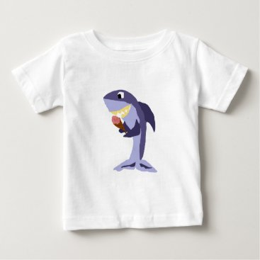 Beach Themed Funny Shark Eating Ice Cream Cone Baby T-Shirt