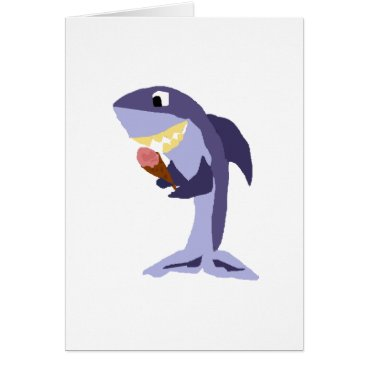 Beach Themed Funny Shark Eating Ice Cream Cone Card