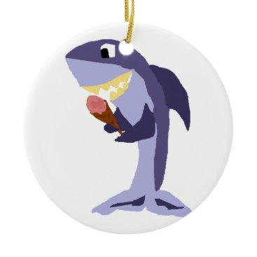Beach Themed Funny Shark Eating Ice Cream Cone Ceramic Ornament
