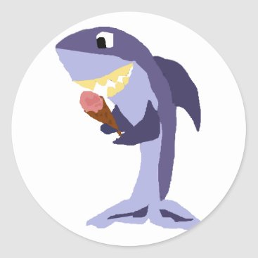 Beach Themed Funny Shark Eating Ice Cream Cone Classic Round Sticker