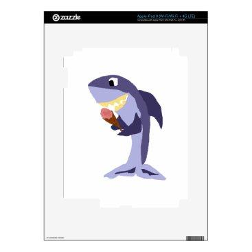 Beach Themed Funny Shark Eating Ice Cream Cone Decal For iPad 3