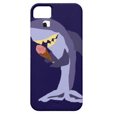 Beach Themed Funny Shark Eating Ice Cream Cone iPhone SE/5/5s Case