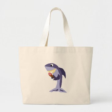 Beach Themed Funny Shark Eating Ice Cream Cone Large Tote Bag