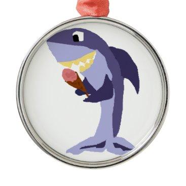 Beach Themed Funny Shark Eating Ice Cream Cone Metal Ornament