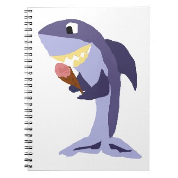 Beach Themed Funny Shark Eating Ice Cream Cone Notebook