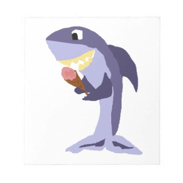 Beach Themed Funny Shark Eating Ice Cream Cone Notepad