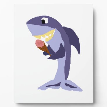 Beach Themed Funny Shark Eating Ice Cream Cone Plaque
