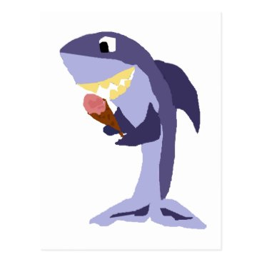 Beach Themed Funny Shark Eating Ice Cream Cone Postcard