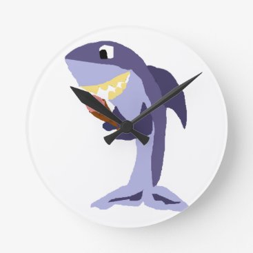 Beach Themed Funny Shark Eating Ice Cream Cone Round Clock
