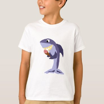 Beach Themed Funny Shark Eating Ice Cream Cone T-Shirt