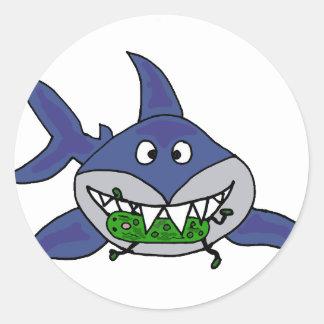 Funny Shark Eating Pickle Man Cartoon Classic Round Sticker