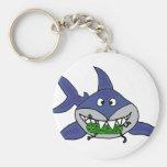 Funny Shark Eating Pickle Man Cartoon Key Chains