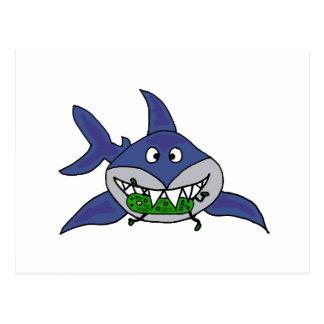 Funny Shark Eating Pickle Man Cartoon Postcard