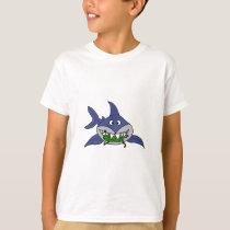 Funny Shark Eating Pickle Man Cartoon T-Shirt