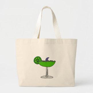 Funny Shark Fin in Margarita Glass Large Tote Bag