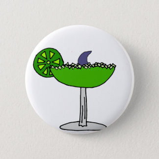 Funny Shark Fin in Margarita Glass Pinback Button