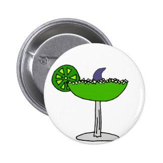 Funny Shark Fin in Margarita Glass Pinback Button