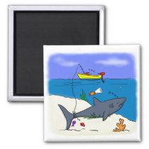 Funny shark fishing cartoon refrigerator magnet