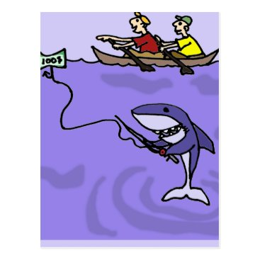 Beach Themed Funny Shark Fishing with Money Postcard