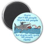 Funny Shark Gun Control 2 Inch Round Magnet