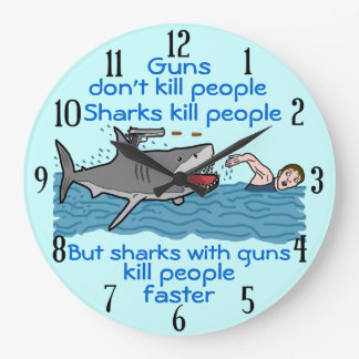 Funny Shark Gun Control Large Clock