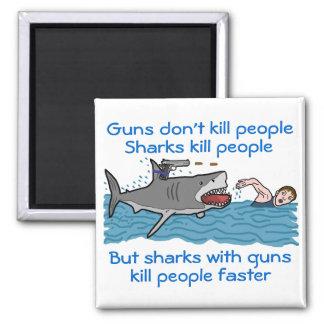 Funny Shark Gun Control 2 Inch Square Magnet