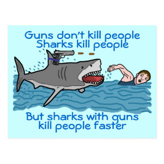 Funny Shark Gun Control Postcard