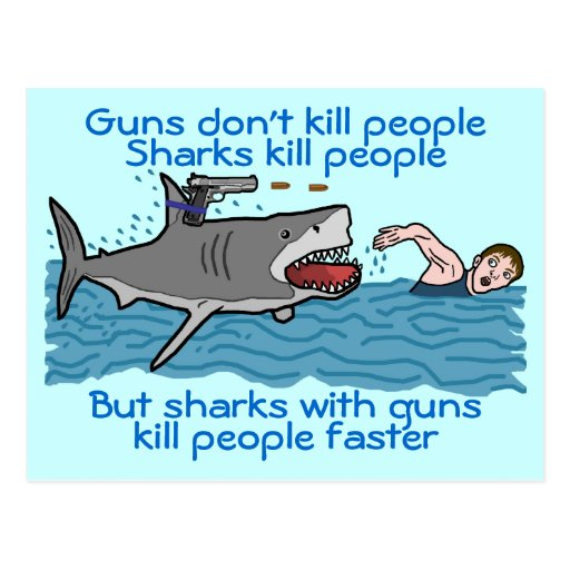 Funny Shark Gun Control Post Card