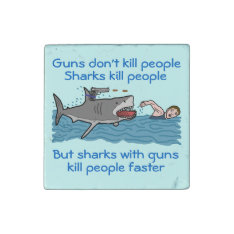 Funny Shark Gun Control Stone Magnet at Zazzle