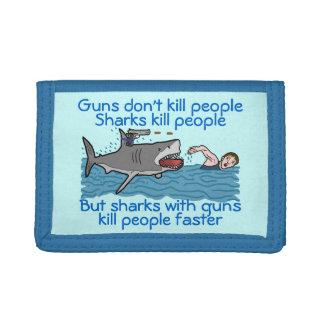 Funny Shark Gun Control Trifold Wallets