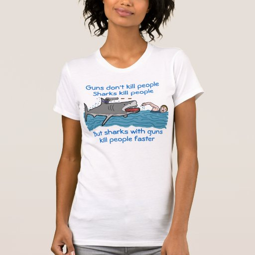 Funny Shark Gun Control T Shirts