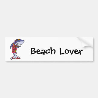 Funny Shark Hippy at the Beach Bumper Sticker