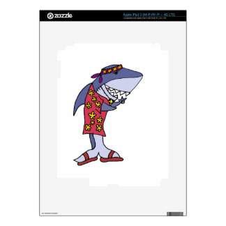 Funny Shark Hippy at the Beach iPad 3 Decal
