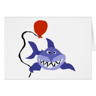 Funny Shark Holding Red Balloon Card