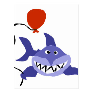 Funny Shark Holding Red Balloon Postcard