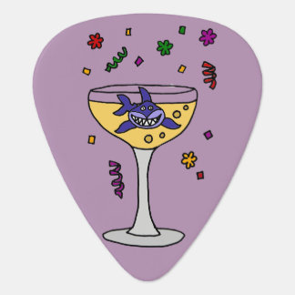 Funny Shark in Champagne Glass Guitar Pick