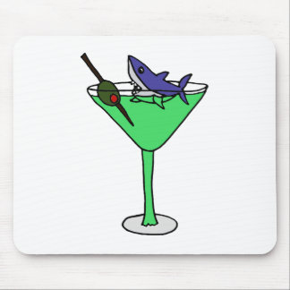 Funny Shark in Green Martini Glass Mouse Pad