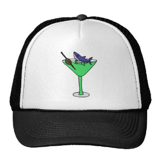 Funny Shark in Green Martini Glass Trucker Hat