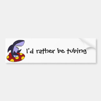 Funny Shark in Red and Yellow Inner Tube Bumper Sticker