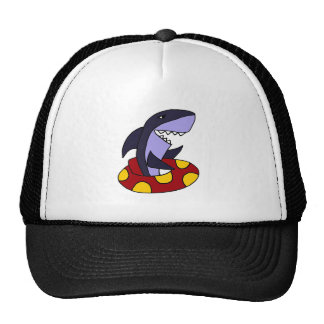 Funny Shark in Red and Yellow Inner Tube Trucker Hat