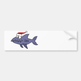 Funny Shark in Santa Hat Christmas Art Bumper Sticker
