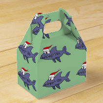 Funny Shark in Santa Hat Christmas Art Favor Box