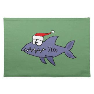 Funny Shark in Santa Hat Christmas Art Placemat