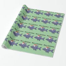 Funny Shark in Santa Hat Christmas Art Wrapping Paper
