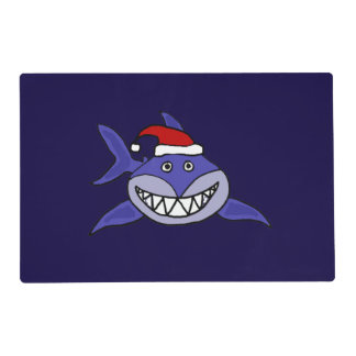 Funny Shark in Santa Hat Christmas Placemat