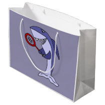 Funny Shark is Playing Tennis Large Gift Bag